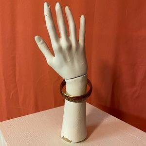 1970s Unbranded Red Gold-Toned Floral Bangle Brace